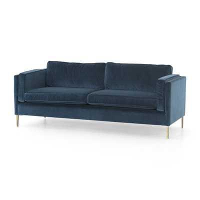 "Emery 84"" Blue Velvet Sofa - Crate and Barrel"