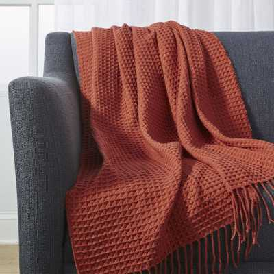 Cecili Rust Waffle Weave Throw - Crate and Barrel