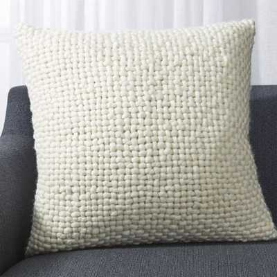 "Cozy Weave Ivory Pillow with Feather-Down Insert 23"" - Crate and Barrel"