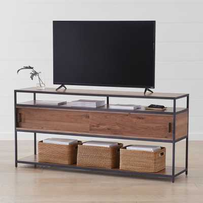 "Knox Black 76"" Industrial Media Console - Crate and Barrel"