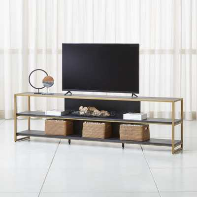"Oxford 100"" Black Wood Media Console - Crate and Barrel"