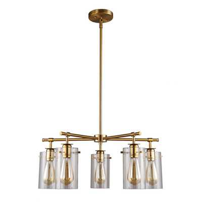 DSI 5-Light Antique Brass Chandelier with Clear Glass Shades - Home Depot