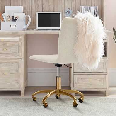 Tweed Ivory with Gold Base Lane Desk Chair - Pottery Barn Teen