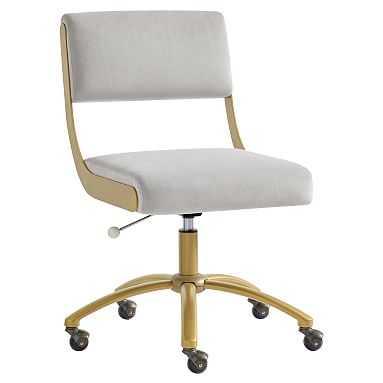 Velvet Gray with Gold Base Boomerang Desk Chair - Pottery Barn Teen
