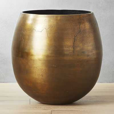 Rough Cast Extra Large Brass Planter - CB2