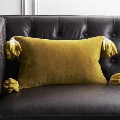 """18""""x12"""" Bia Tassel Pesto Velvet Pillow with Down-Alternative Insert - CB2"""