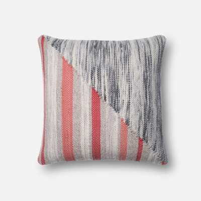 "PILLOWS - GREY / CORAL - 22"" X 22"" Cover w/Down - Loma Threads"