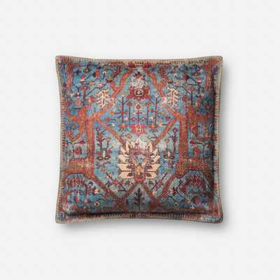 "PILLOWS - BLUE / MULTI - 18"" X 18"" Cover w/Down - Loma Threads"