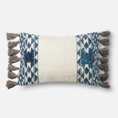 """P0617 BLUE / IVORY - 13"""" X 21"""" Cover w/Down - Loma Threads"""