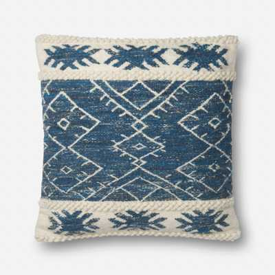 "P0619 PILLOWS - BLUE / IVORY - 22"" X 22"" Cover w/Down - Loma Threads"