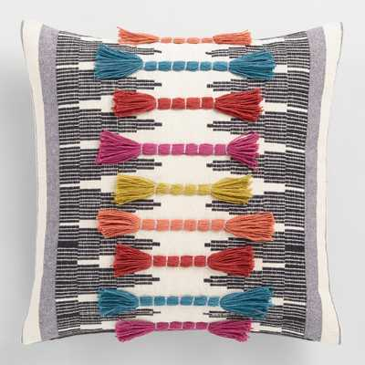Multicolor Embroidered Tassel Throw Pillow by World Market - World Market/Cost Plus