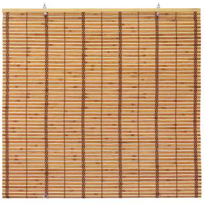 RED LANTERN Oriental Furniture Burnt Bamboo Cordless Window Shade Two-Tone Honey 60 in. W x 72 in. L - Home Depot