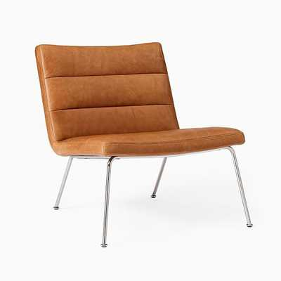 Angus Slipper Chair, Sesame Ludlow Leather, Polished Stainless Steel - West Elm