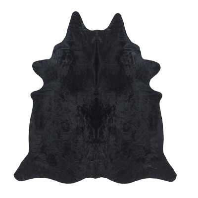 "Saddlemans Solid Dyed Cowhide Black Area Rug Rug Size: 6'6"" x 7'6"" - Perigold"