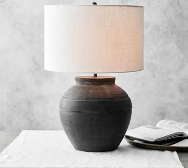 Faris Ceramic Table Lamp, Matte Black Base with Large Straight Sided Textured Gallery Shade, Ivory - Pottery Barn