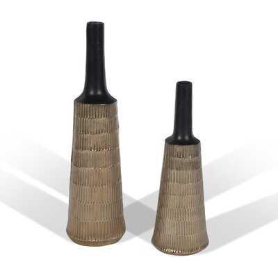 2 Piece Faucon Gold/Black Indoor/Outdoor Metal Table Vase Set - Wayfair