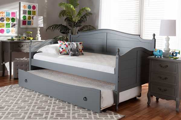 Baxton Studio Mara Cottage Farmhouse Grey Finished Wood Twin Size Daybed with Roll-Out Trundle Bed - Lark Interiors