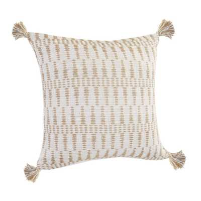 LR Home Natural Ivory / Beige Geometric Tasseled Durable Poly-fill 20 in. x 20 in. Throw Pillow - Home Depot