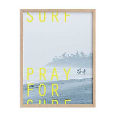 Pray to Surf Framed Art by Minted(R), Natural, 18x24 - Pottery Barn Teen