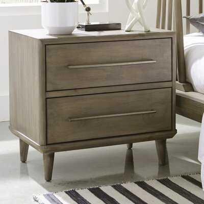 Soria 2 - Drawer Solid Wood Nightstand in Antique Mocha - Wayfair