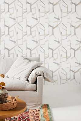 Geometric Linen Wallpaper By Anthropologie in Grey - Anthropologie