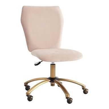 Velvet Airgo Swivel Desk Chair, Lustre Velvet Dusty Blush - Pottery Barn Teen
