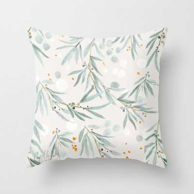 "Wispy Leaves - Gray Couch Throw Pillow by Crystal W Design - Cover (16"" x 16"") with pillow insert - Indoor Pillow - Society6"