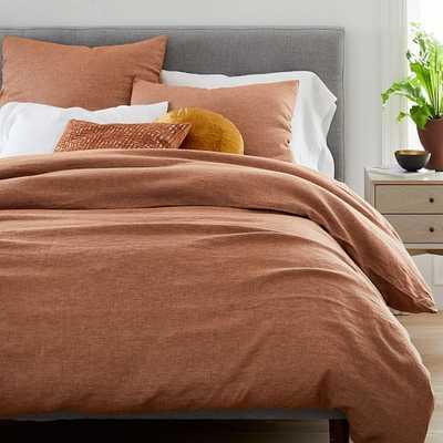 Belgian Flax Linen Melange Duvet & Standard Sham, Terracotta, Full/Queen - West Elm
