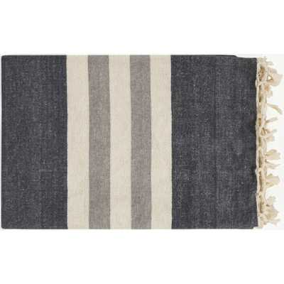 Perry Modern Classic Woven Dark Grey Striped Cotton Throw Blanket - Kathy Kuo Home