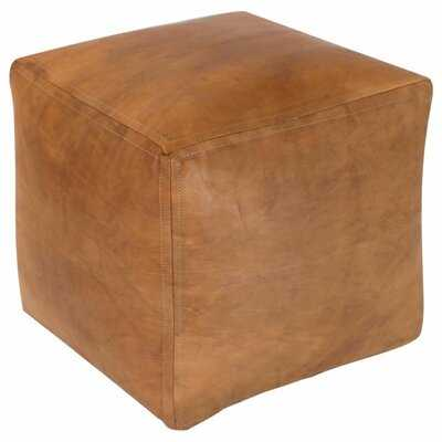 "Edington 16"" Genuine Leather Square Pouf Ottoman - Birch Lane"