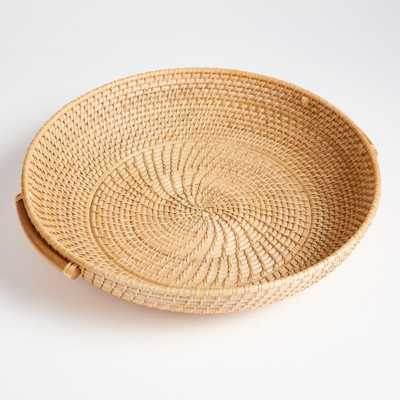 Artesia Natural Round Rattan Tray with Handles - Crate and Barrel