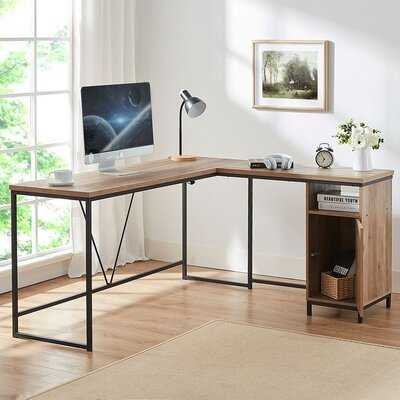 Rustic Industrial Wood And Metal L-Shape Computer Desk With Cabinet - Wayfair