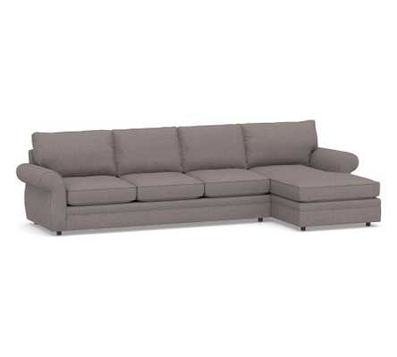 Pearce Roll Arm Upholstered Left Arm Sofa with Chaise Sectional, Down Blend Wrapped Cushions, Jumbo Basketweave Dark Truffle - Pottery Barn