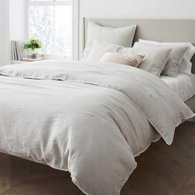 European Linen Pom Pom Duvet, Full/Queen Duvet Cover, Frost Gray - West Elm