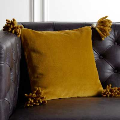 "16"" Bia Tassel Mustard Pillow with Feather-Down Insert - CB2"