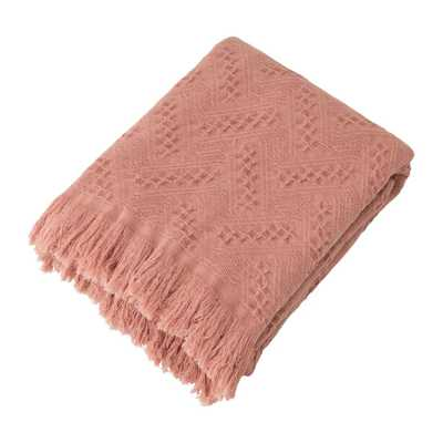 Glitzhome Coral Pink Grid Cotton Woven Throw - Home Depot