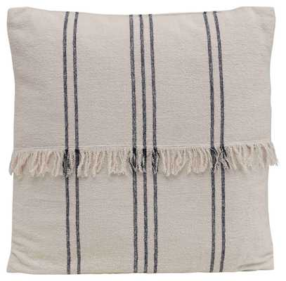 Square Striped Cotton Mudcloth Pillow with Fringe Center - Nomad Home