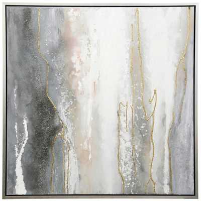 StyleCraft Contemporary Silver Canvas, Metal Framed Wall Art, Dark Gray - Home Depot