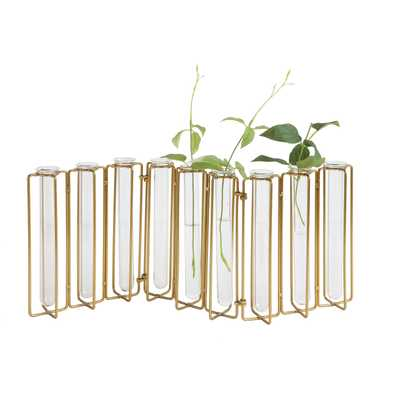 9 Test Tube Vases in a Single Gold Metal Stand - Nomad Home