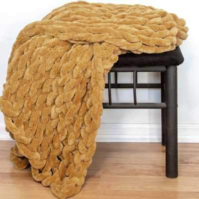 AMERICAN HERITAGE Gold Chenille Chunky Knit Throw - Home Depot