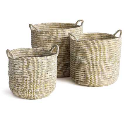 Dahlia White Rivergrass Baskets With Handles, Set of 3 - Pottery Barn