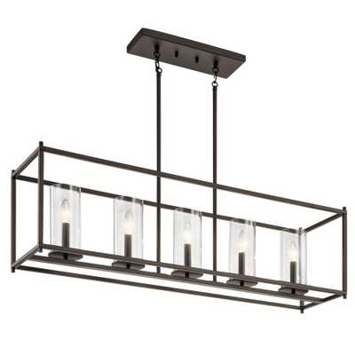 KICHLER Crosby 5-Light Olde Bronze Linear Chandelier with Clear Glass Shade - Home Depot