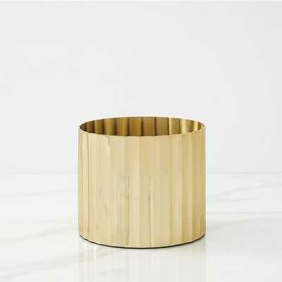 Pure Foundations Metal Tabletop Planters, Small Round, Polished Brass - West Elm