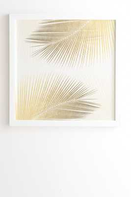 "Palm Leaf Synchronicity Gold by Gale Switzer - Framed Wall Art Basic White 20"" x 20"" - Wander Print Co."