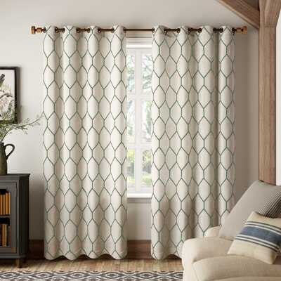 Putnam Geometric Semi-Sheer Grommet Single Curtain Panel - Birch Lane
