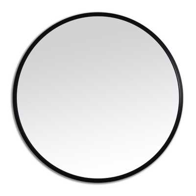 Better Bevel 30 in. x 30 in. Rubber Framed Round Mirror in Black - Home Depot