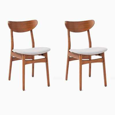Classic Cafe Upholstered Dining Chair, Feather Gray, Walnut, Set of 2 - West Elm