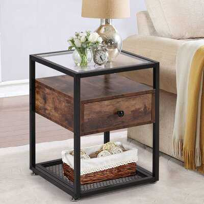 Quarles Glass Top End Table with Storage - Wayfair