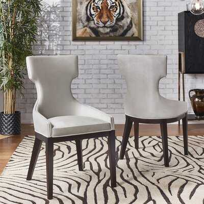 Roimata Velvet Upholstered Wingback Side Chair In Gray (set of 2) - Wayfair