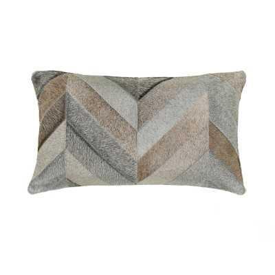 Saddlemans Chevron Gris Leather/Suede Lumbar Pillow Color: Bright Gray - Perigold